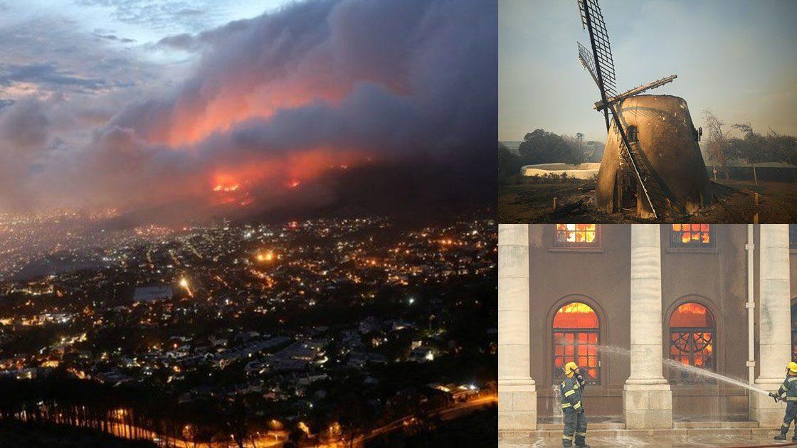 แอฟริกาใต้ไฟป่าลามหนัก เผาทำลายหอสมุดมหาวิทยาลัย กังหันลมอายุกว่า200ปี