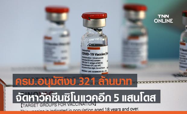 ครม.อนุมัติ 321 ล้านบาท จัดหาวัคซีนโควิดจากซิโนแวค เพิ่มอีก 5 แสนโดส
