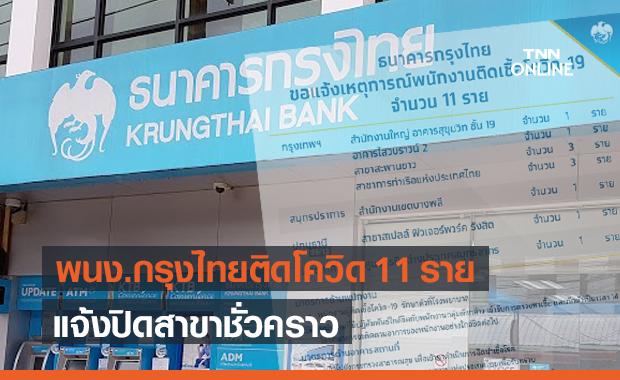 ธนาคารกรุงไทย พบพนักงานติดโควิด 11 ราย แจ้งปิดสาขาชั่วคราว