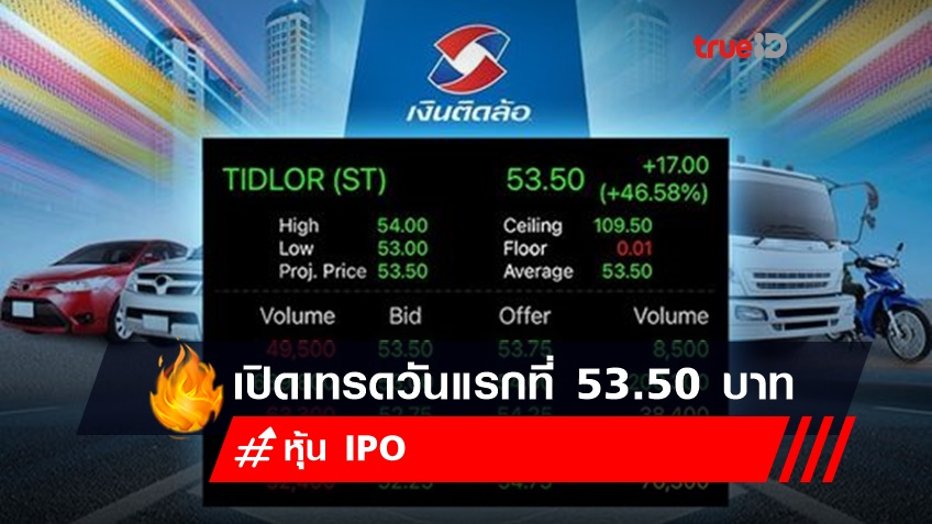 TIDLOR ร้อนแรง เปิดเทรดวันแรกที่ 53.50 บาท สูงกว่าราคาขาย หุ้น IPO 46.58