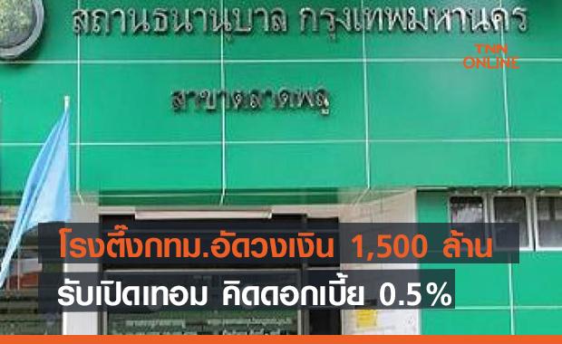 โรงตึ๊งกทม.อัดวงเงิน 1,500 ล้านรับเปิดเทอม คิดดอก 0.5% ช่วยผู้ปกครองสู้โควิด
