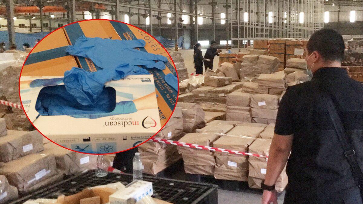 ชลบุรี บุกทลายโรงงานผลิตถุงมือแพทย์เถื่อน ไร้มาตรฐาน พบสอดไส้ใส่กล่องยี่ห้ออื่น
