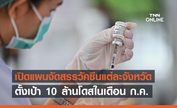 เปิดแผนจัดสรรวัคซีน 10 ล้านโดสเดือน ก.ค. แต่ละจังหวัดรับเท่าไหร่เช็กเลย!