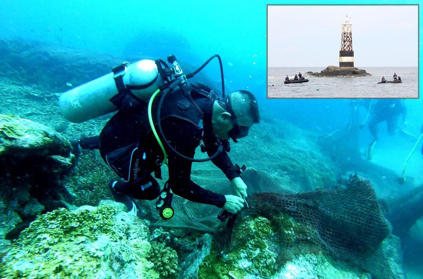 ภารกิจสำเร็จ! ศรชล.ตัดอวนกู้ปะการัง เกาะโลซิน