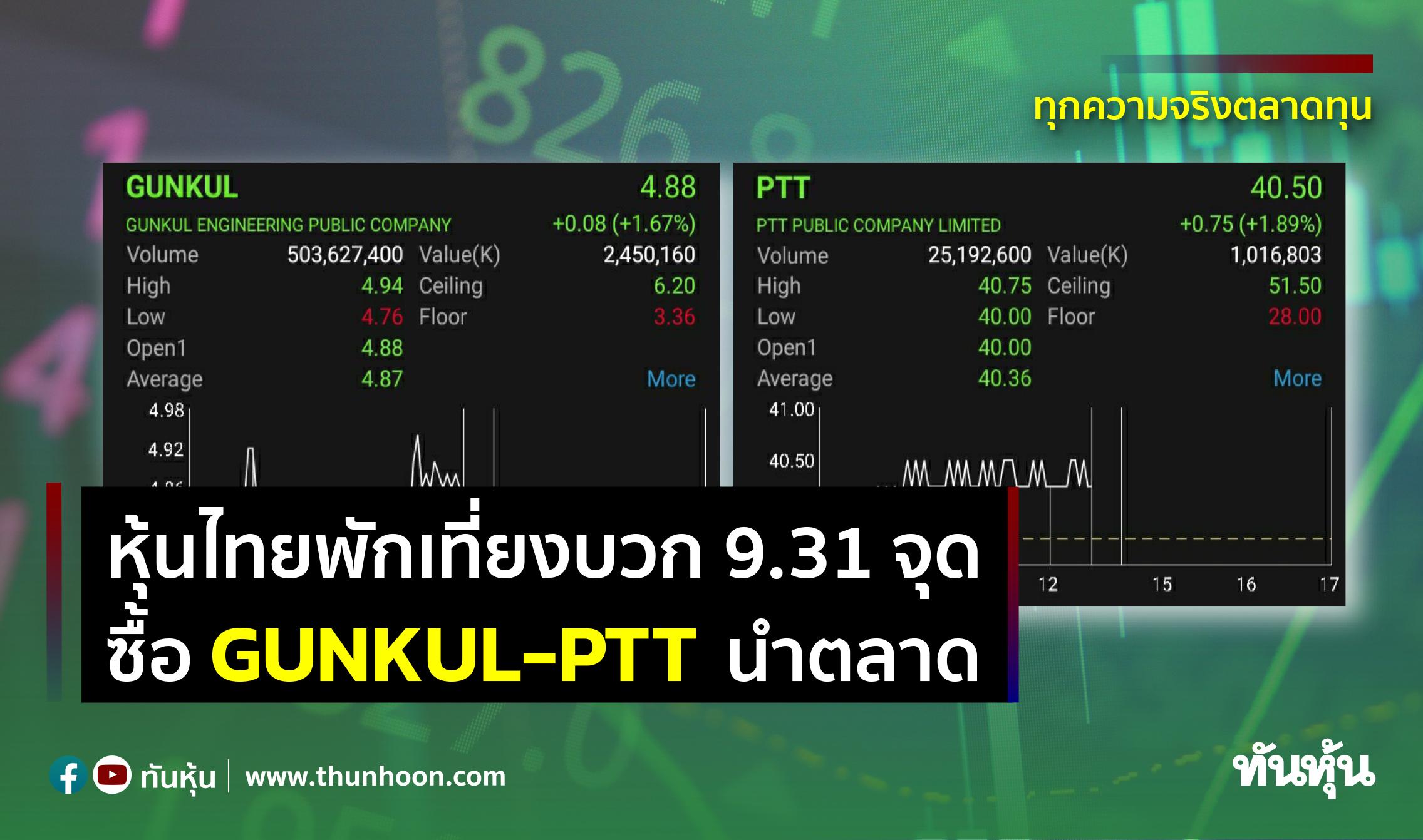 หุ้นไทยพักเที่ยงบวก 9.31 จุด ซื้อ GUNKUL-PTT นำตลาด