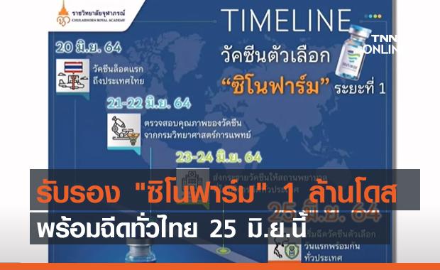 """รับรอง """"ซิโนฟาร์ม"""" 1 ล้านโดส พร้อมฉีดทั่วไทย 25 มิ.ย.นี้ (คลิป)"""