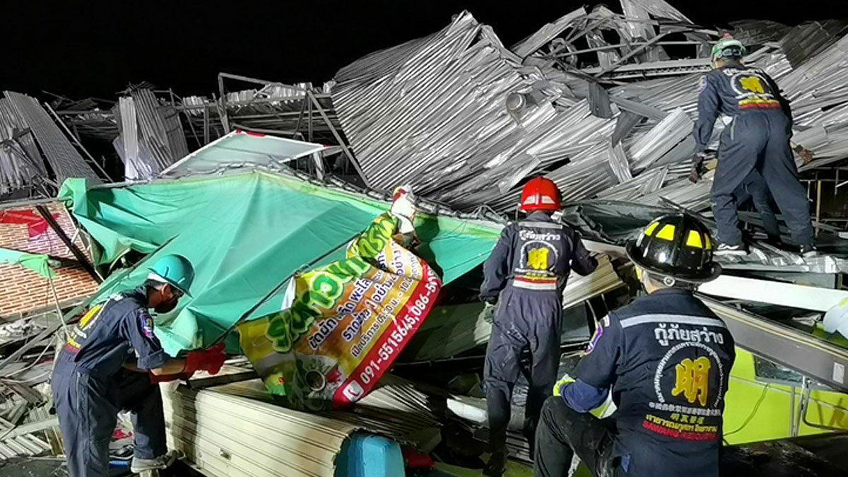 เผยนาทีชีวิต! พายุซัดราชบุรีพัดตลาดนัดพังถล่มทับเจ็บ3 สูญกว่า5ล้าน