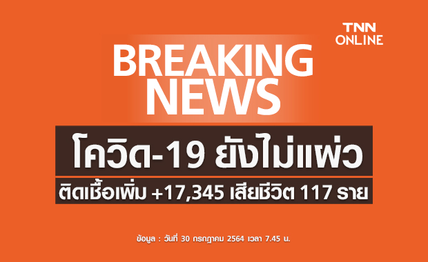 โควิด-19 วันนี้ ไทยติดเชื้อเพิ่ม 17,345 ราย เสียชีวิต 117 ราย