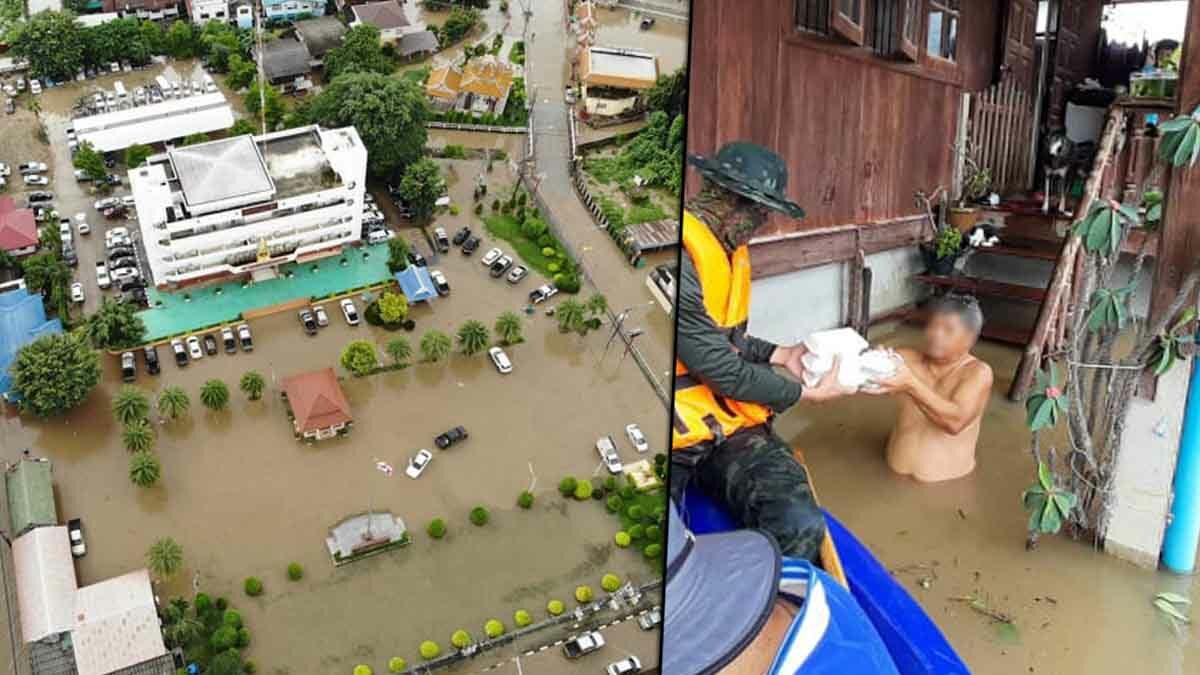 โควิดก็วิกฤตยังเจอน้ำป่า! แม่สอดอ่วม น้ำท่วมกลางเมือง ชาวบ้านขนของหนีโกลาหล