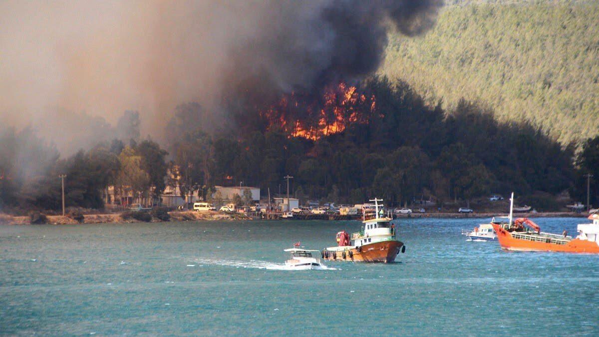หนีไฟป่าตุรกี สุดระทึก นักท่องเที่ยวแตกตื่น กรูไปอพยพขึ้นเรือ