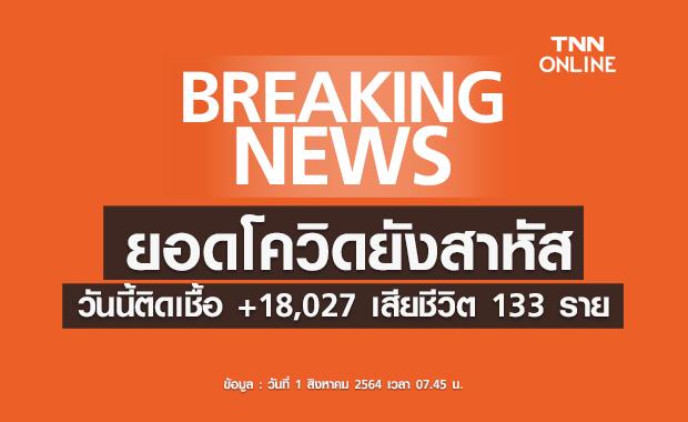 โควิด-19 วันนี้ ติดเชื้อยังสูง 18,027 ราย เสียชีวิตอีก 133 ราย