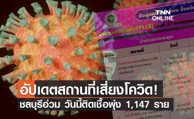 เช็กด่วน! ชลบุรีอัปเดตสถานที่เสี่ยง วันนี้ติดเชื้อพุ่ง 1,147 ราย