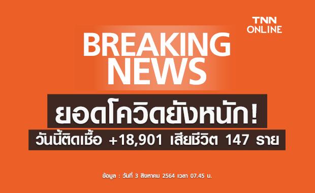 ไม่แผ่วเลย! โควิดวันนี้ติดเชื้อเพิ่ม 18,901 เสียชีวิตอีก 147 ราย
