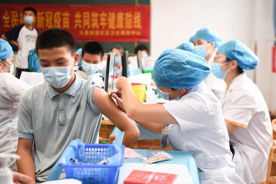 เยาวชนใน 'ฉางซา' ทยอยรับวัคซีนโควิด-19