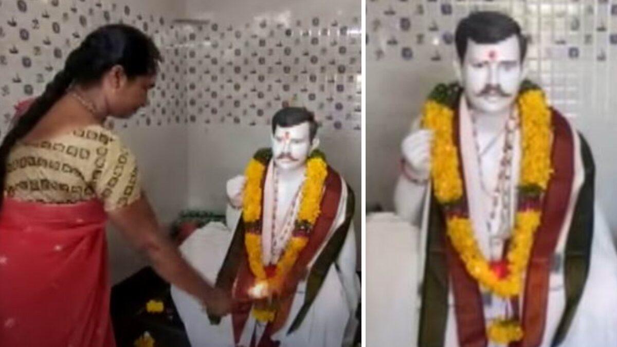 รักนิรันดร์! หญิงอินเดีย สร้างวิหาร-รูปปั้นหินอ่อน ของสามีผู้ล่วงลับ เอาไว้บูชา