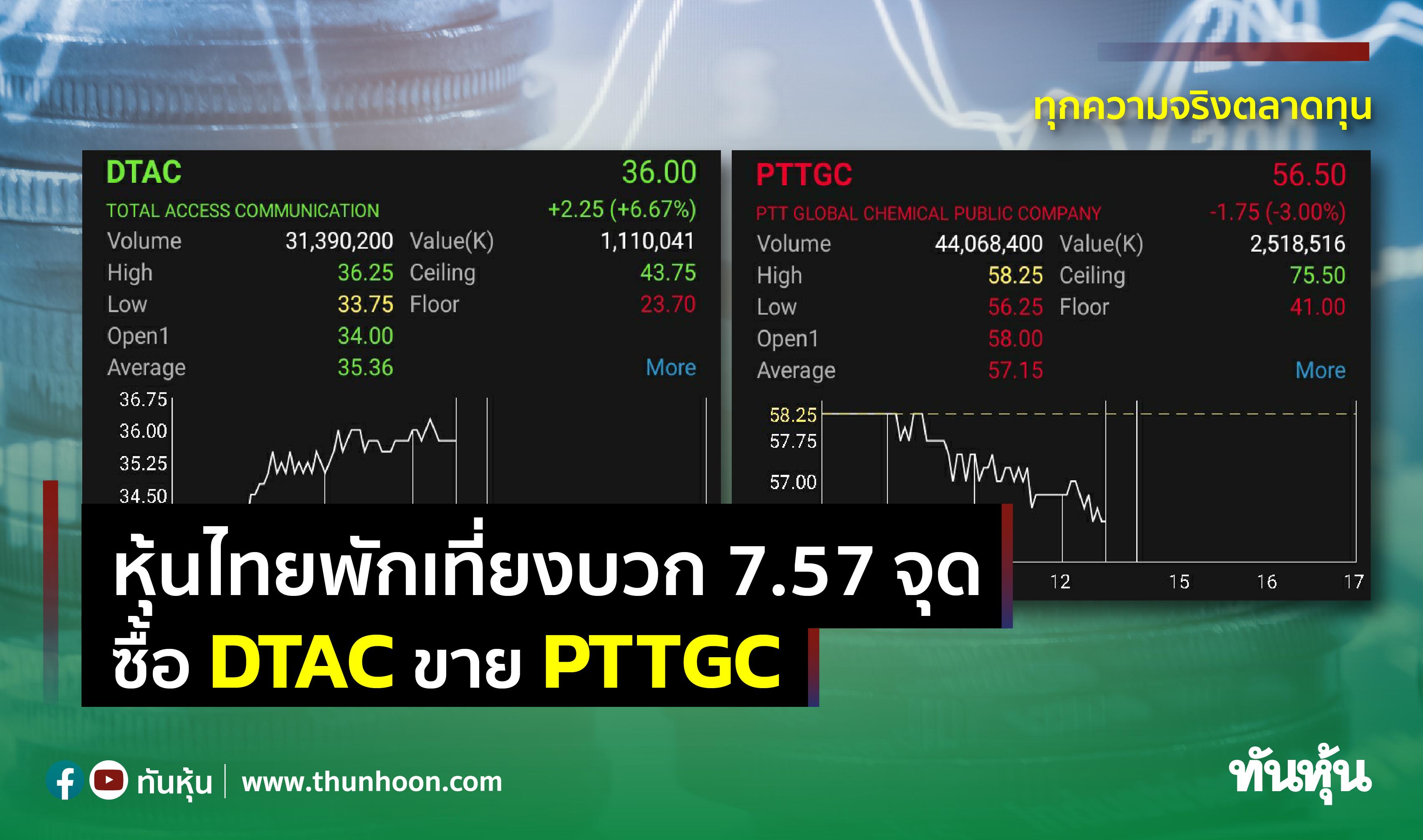 หุ้นไทยพักเที่ยงบวก 7.57 จุด ซื้อ DTAC ขาย PTTGC