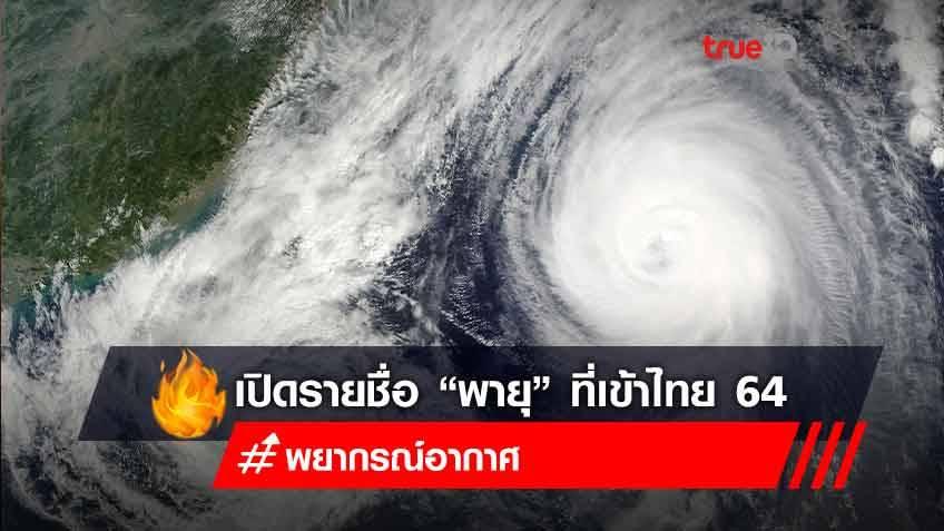 """เปิดรายชื่อ """"พายุ"""" ที่เข้าไทยปี 2564"""