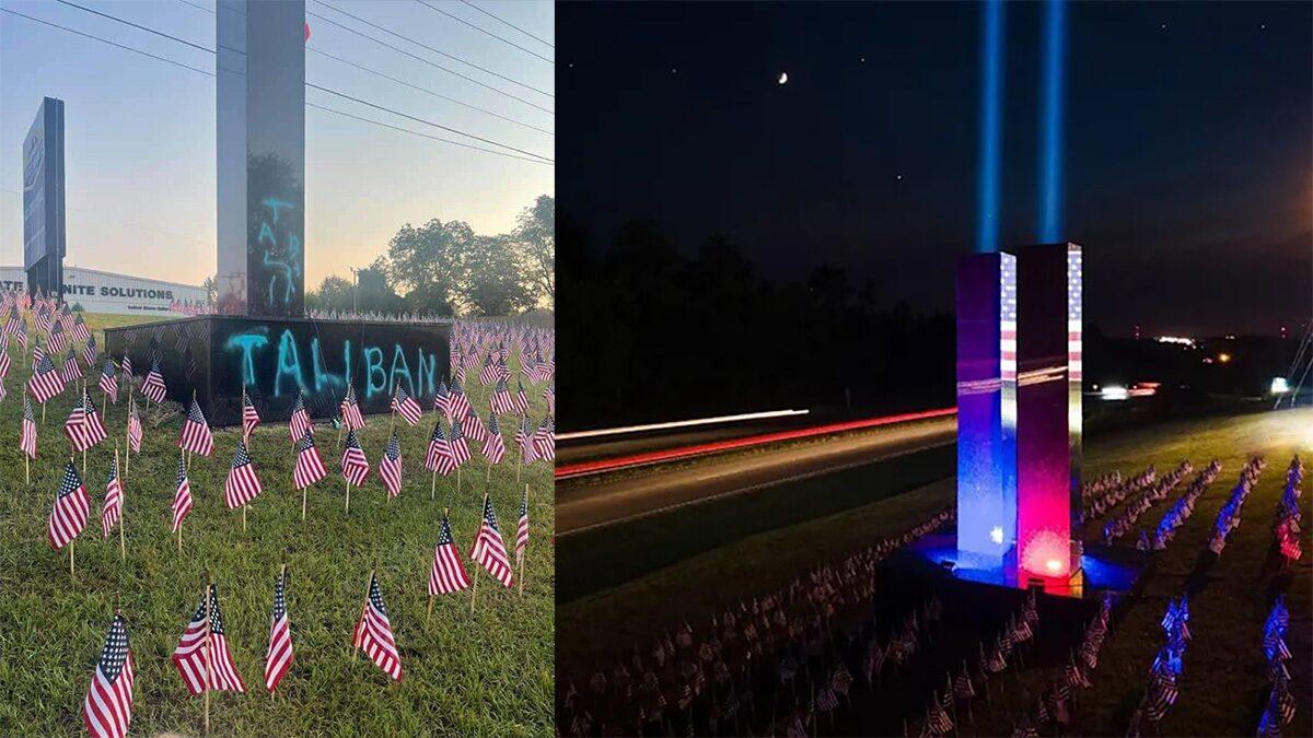 """อนุสรณ์สถานครบรอบ20ปี9/11 ถูกพ่นสเปรย์คำว่า """"ตาลิบัน"""" บนตึกเวิล์ดเทรดจำลอง"""