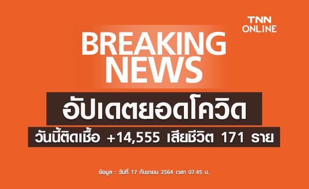 ยอดโควิดวันนี้ ติดเชื้อรายใหม่ 14,555 ราย เสียชีวิต 171  ราย