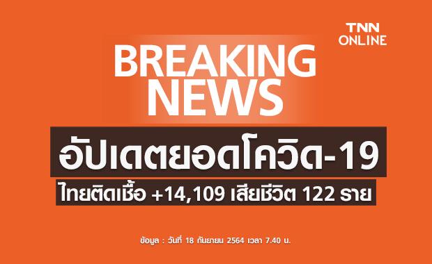โควิด-19 วันนี้ ไทยติดเชื้อเพิ่ม 14,109 ราย เสียชีวิต 122 ราย