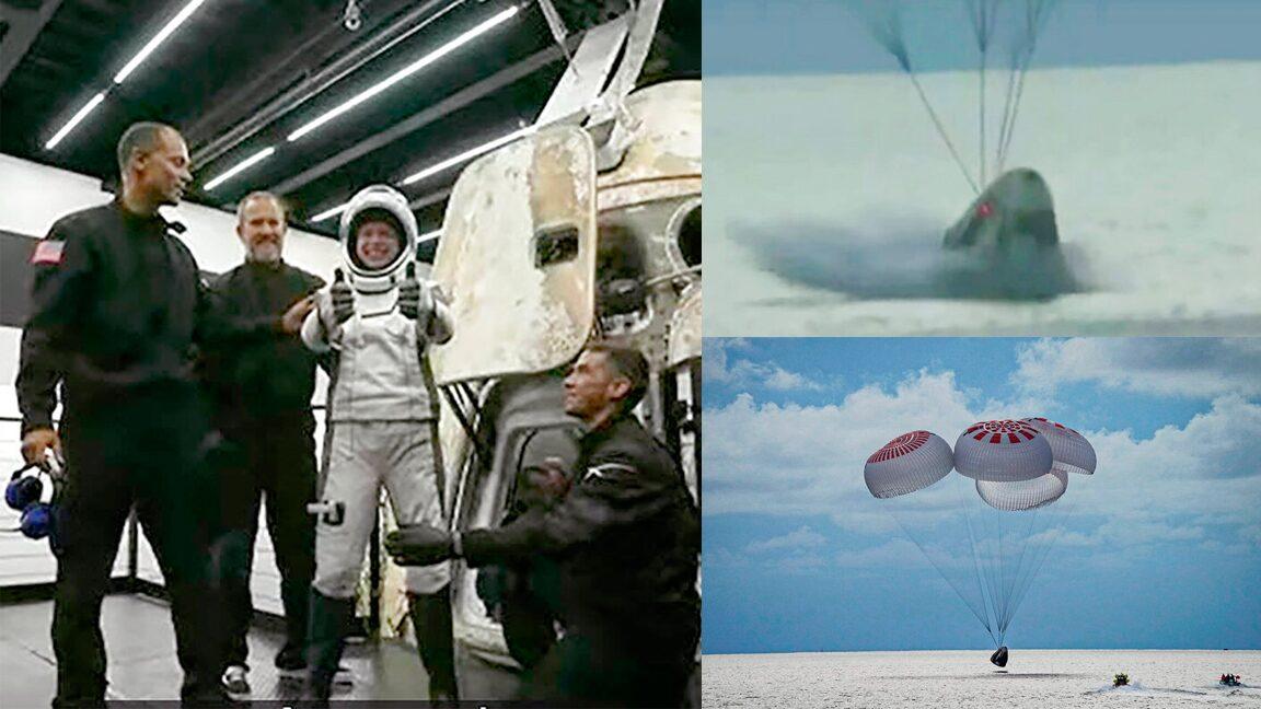 ยันจบสวย 4นักท่องอวกาศกลับโลก ลงจอดน้ำกระจาย กลางมหาสมุทร