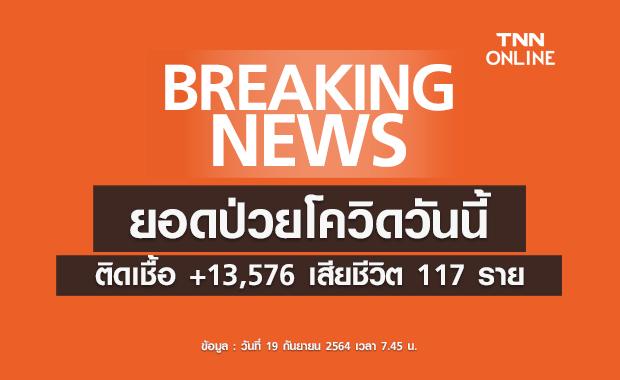 ยอดโควิดวันนี้ ไทยติดเชื้อรายใหม่เพิ่ม 13,576 ราย มีผู้เสียชีวิต 117 ราย
