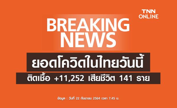 โควิด-19 วันนี้ พบป่วยติดเชื้อรายใหม่ 11,252 ราย เสียชีวิต 141 ราย