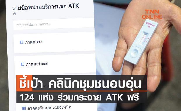 เปิดรายชื่อ คลินิกชุมชนอบอุ่น 124 แห่ง ร่วมกระจาย ATK ฟรี