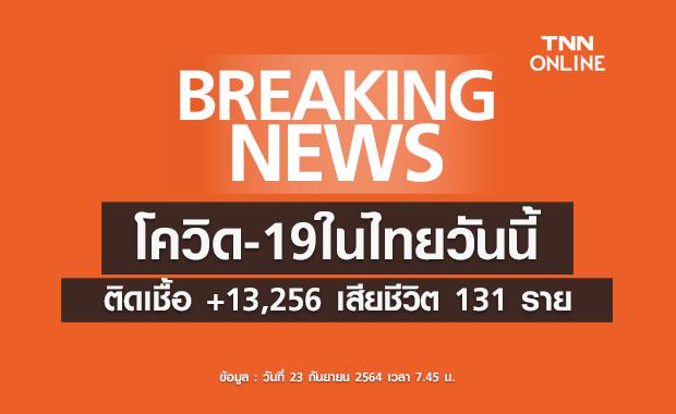 โควิด-19ในไทยวันนี้ พบผู้ติดเชื้อรายใหม่ 13,256 ราย เสียชีวิต 131 ราย