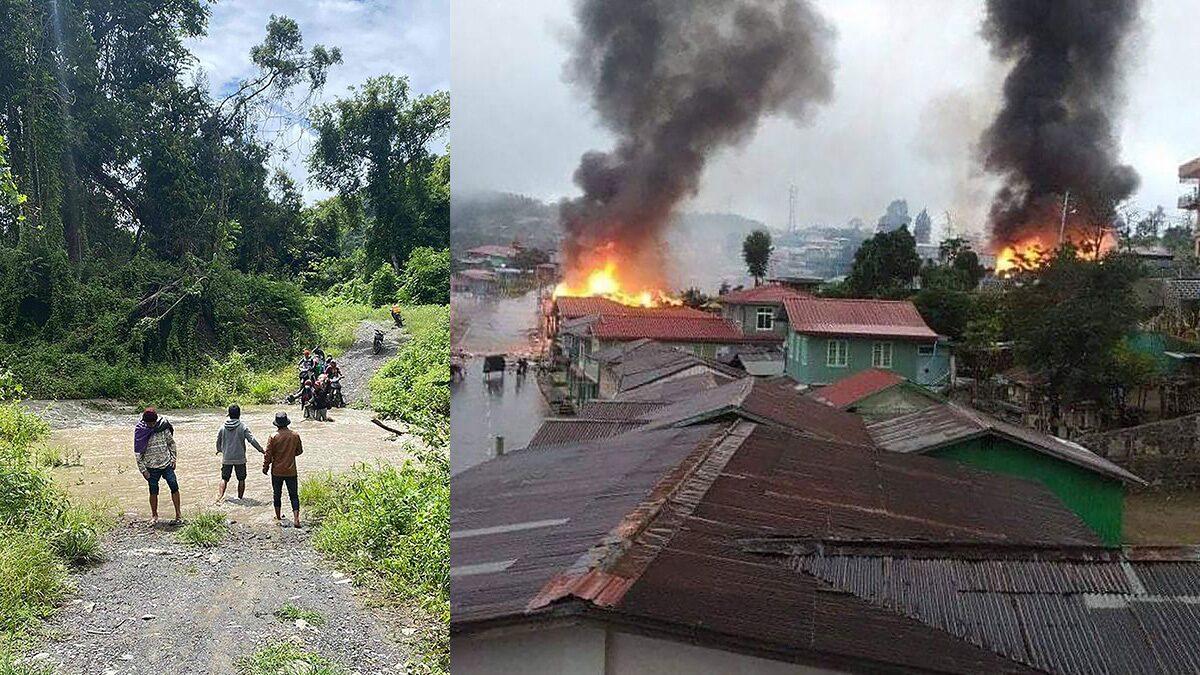 ชาวพม่าเกือบทั้งรัฐชีนหนีตาย ทหารยิงปืนใหญ่-ไฟไหม้บ้าน สู้กองกำลังต้านรัฐประหาร