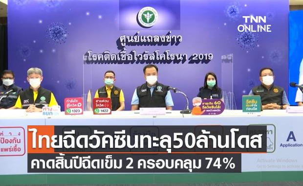 สธ.เผยไทยฉีดวัคซีนโควิดเกิน 50 ล้านโดส คาดสิ้นปีฉีดเข็ม 2 ครอบคลุม 74%