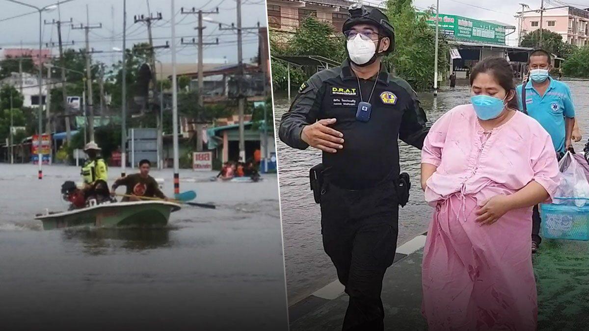 สุโขทัยยังวิกฤต น้ำยังท่วมสูง สาวท้องใกล้คลอด-คนเจ็บไป-กลับรพ.ทุลักทุเล