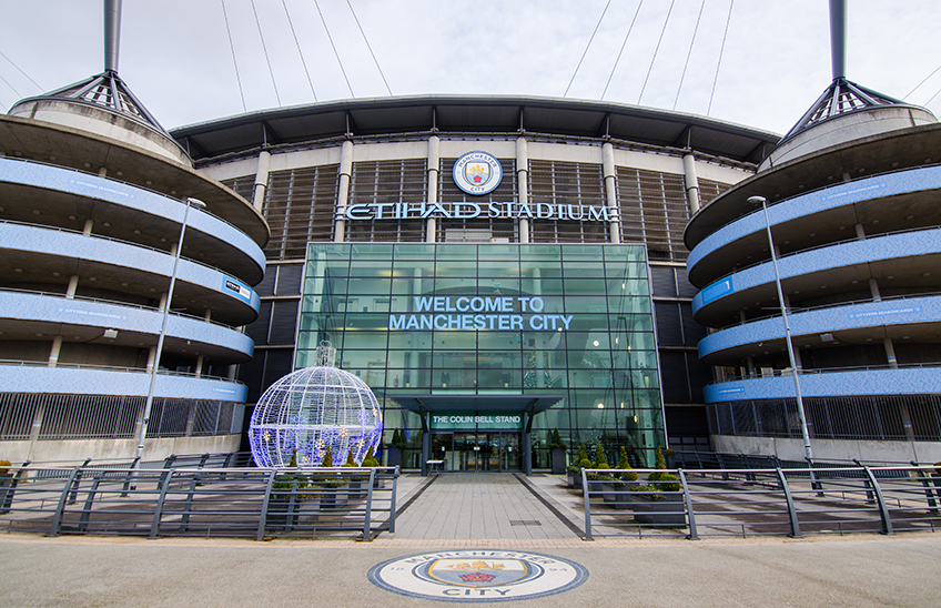 MANCHESTER, UK - DECEMBER 7, 2017: Entrance of Etihad stadium, Home of Manchester City
