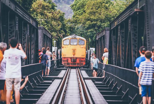 train on the bridge over the river Kwai