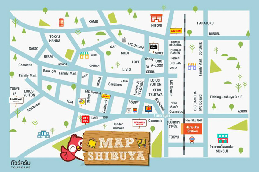 แผนที่ช้อปปิ้ง ชิบูย่า