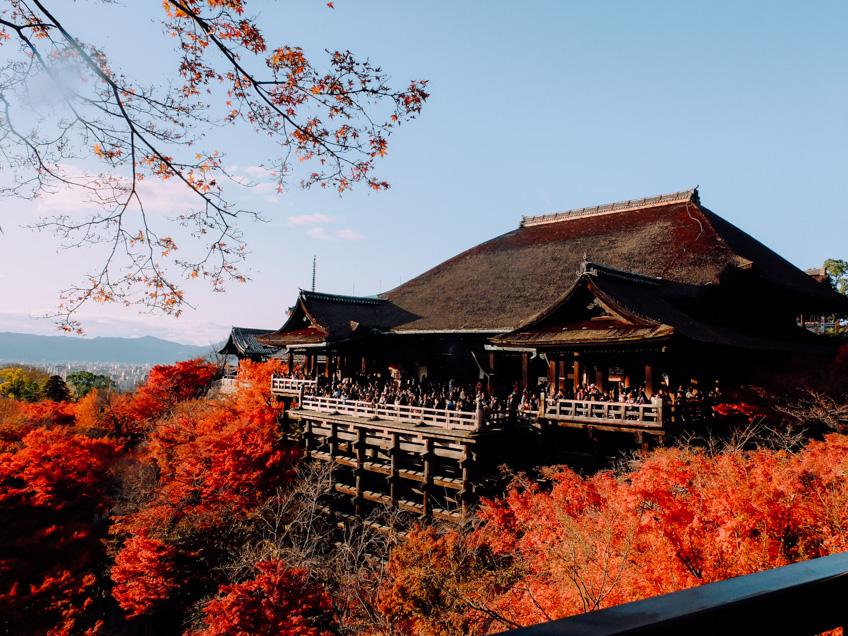 Kiyomizu-Dera Temple, Kyoto ใบไม้เปลี่ยนสี