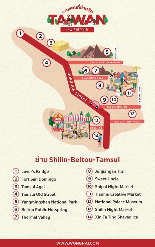 แผนที่เที่ยวไต้หวัน ไทเป Shilin-Beitou-Tamsui