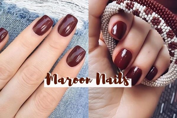 maroon nails thumb
