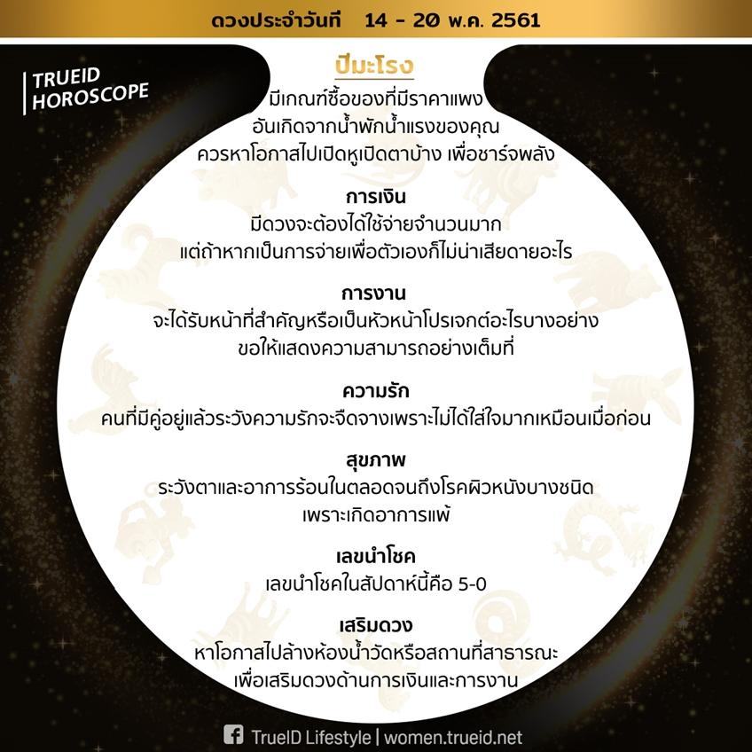 TrueID Horoscope : เคล็ดลับเสริมดวง ตาม 12 ปีนักษัตร รายสัปดาห์ 14-20 พ.ค. 61 โดย อ. ต้น มนตรา จากทีวีพูล