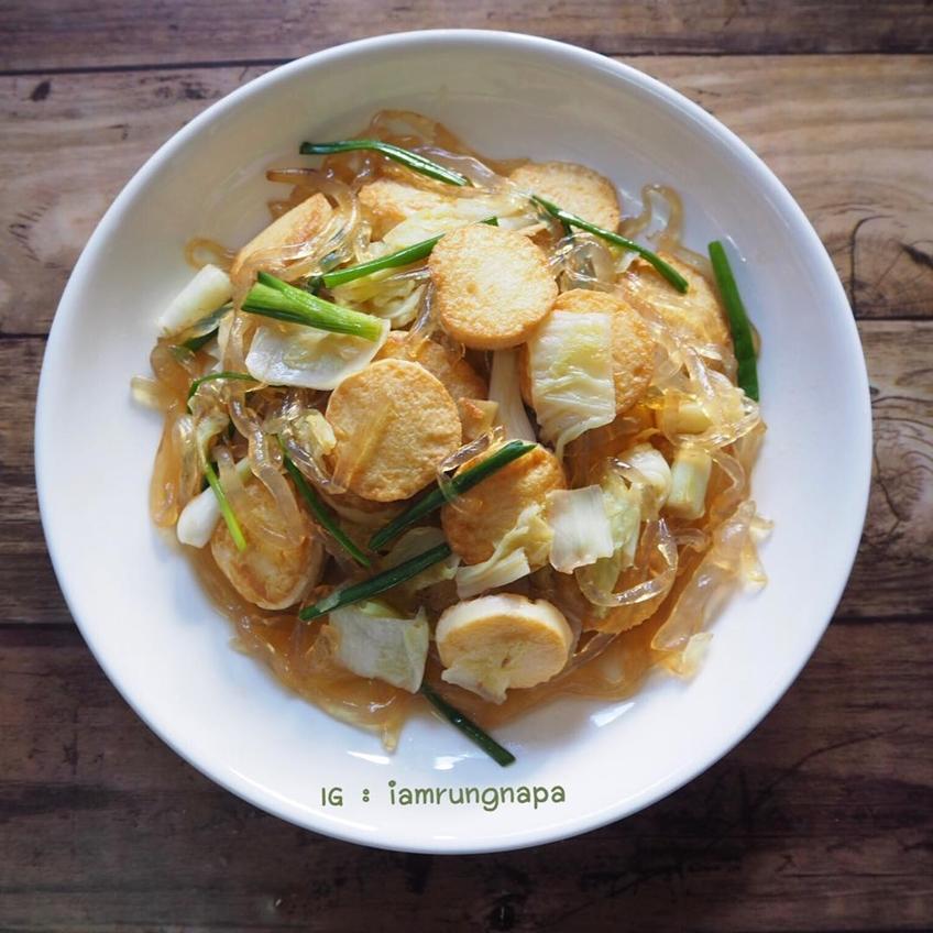 ไอเดียอาหารคลีน :ผัดผักกาดขาว เส้นแก้ว และเต้าหู้ไข่