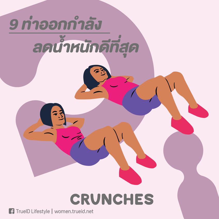 ท่าออกกำลังกาย ลดน้ำหนัก ลดความอ้วน ครันช์