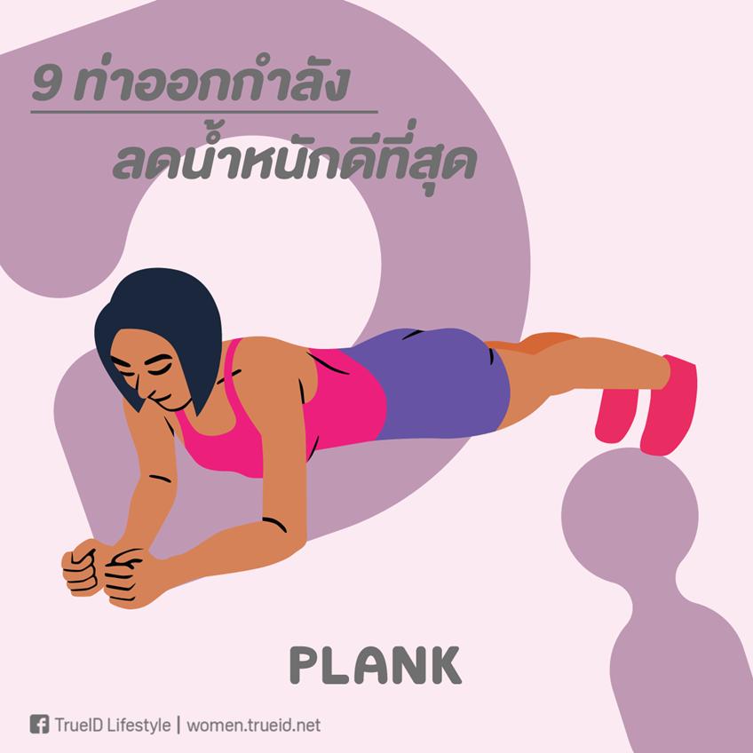 ท่าออกกำลังกาย ลดน้ำหนัก ลดความอ้วน แพลงก์ plank