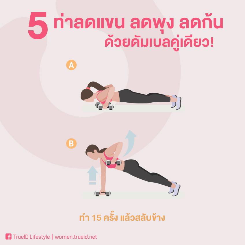 เปลี่ยนไขมันเป็นกล้ามเนื้อ! 5 ท่าลดแขน ลดพุง ลดก้น ด้วยดัมเบลคู่เดียว!