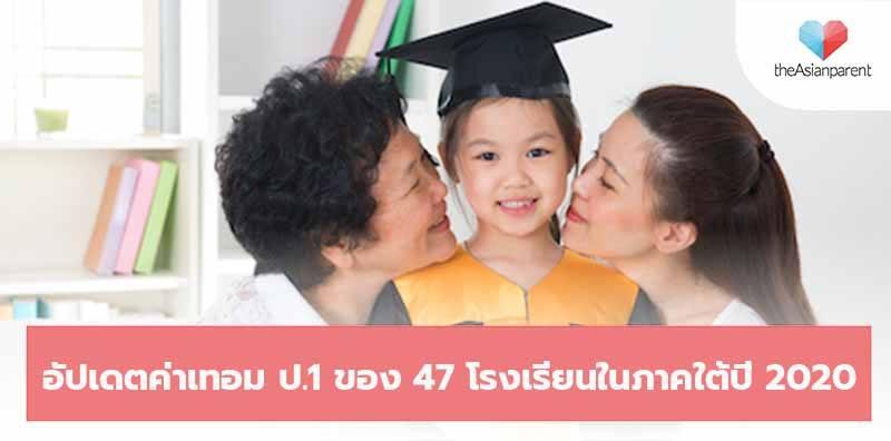 อัปเดตค่าเทอม ชั้นป.1 ของ 47 โรงเรียนในภาคใต้ปี 2020